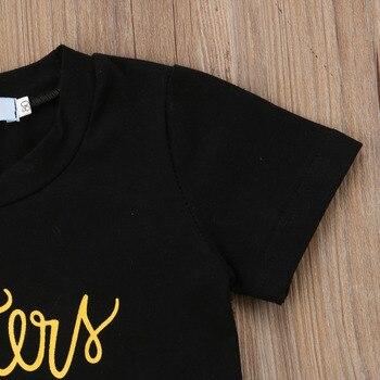 Summer Toddler Kids Baby Girl Letter Print T-shirt Tops+Sequins Denim Shorts Jeans 2PCS Outfits Children Clothing Set 4