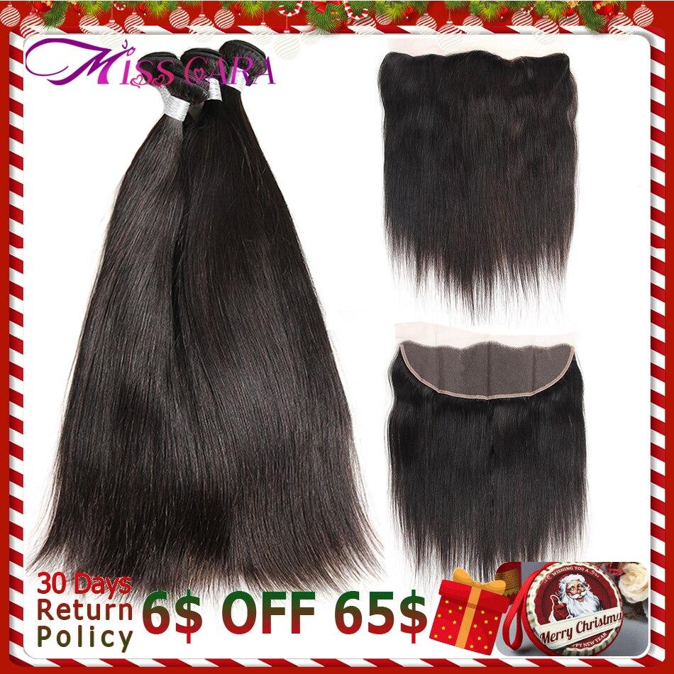 Brésilienne Cheveux Raides Tisse 13*4 Dentelle Frontale Fermeture Avec Bundles 100% de Cheveux Humains 3 Bundles Avec Fermeture Mlle cara Remy Cheveux