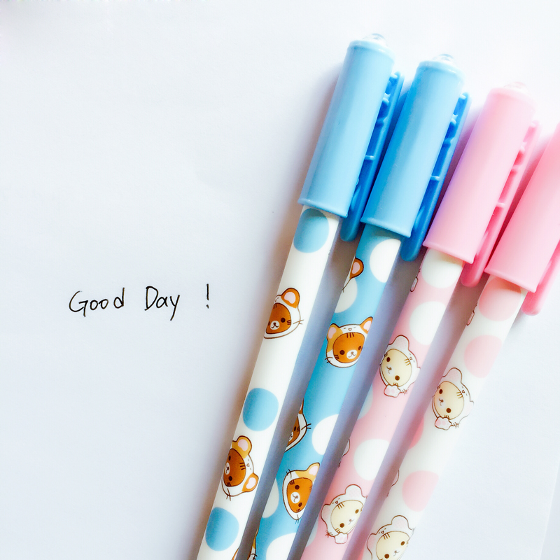 H04 4pcs/lot Cute Kawaii Rilakkuma Gel Pen Stationery School Office Supply Writing Student Gift Rewarding