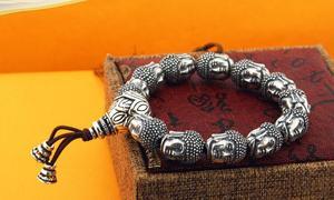 Image 5 - 100% 999 Zilveren Sakyamuni Boeddha Standbeeld Kralen Armband Tibetaanse Boeddha Hoofd Kralen Armband Pols Mala Armband