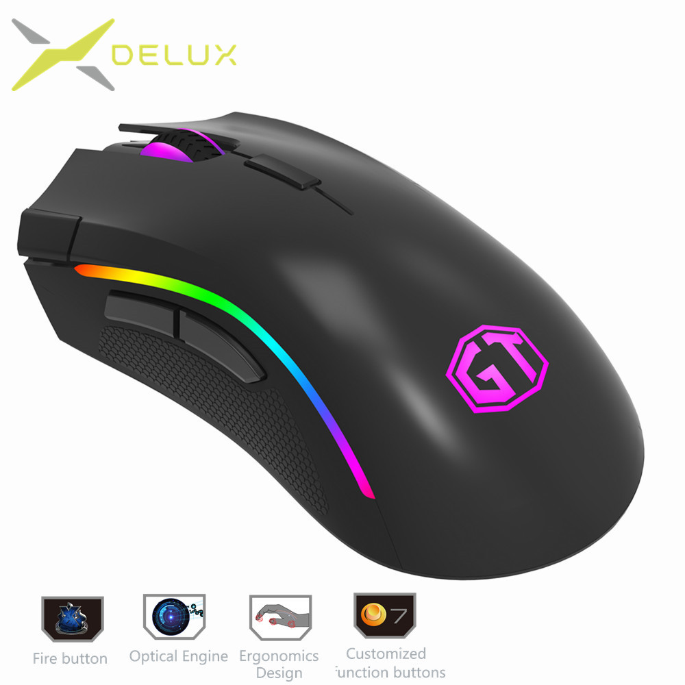 Delux M625 RGB Backlight Gaming Mouse 12000 DPI 12000 FPS 7 Buttons Optical USB Wired Mice For LOL DOTA Game player PC Laptop ...