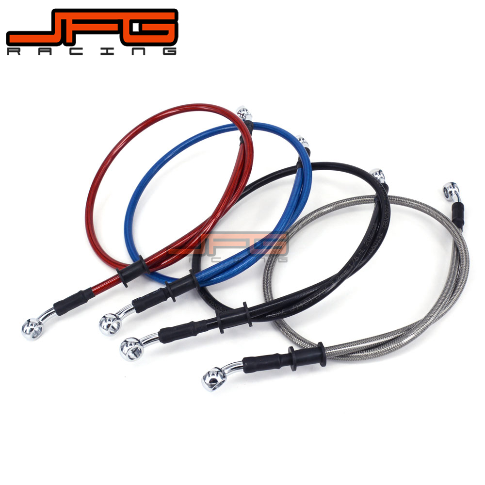 500mm to 2000mm Hydraulic Reinforced Brake Clutch Oil Hose Line Pipe for CRF YZF RMZ KTM KXF Blue Silver Red Black Color 1500mm 2000mm 2300mm motorcycle brake pipe tubing braided steel hydraulic reinforced brake or clutch oil hose line pipe