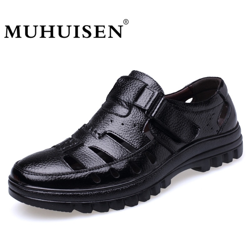 MUHUISEN Summer Men's Casual Shoes Hollow Out Breathable Male Flats Genuine Leather Fashion High Quality Comfortable Sandals