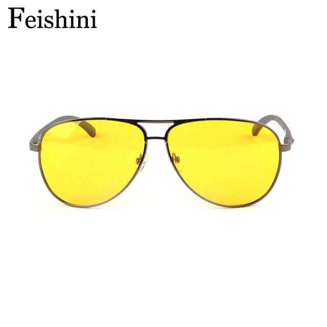 FEISHINI Glasses Day & Night alloys TAC Pink HD See Car Yellow Lens Sunglasses Men Polarized Night Vision