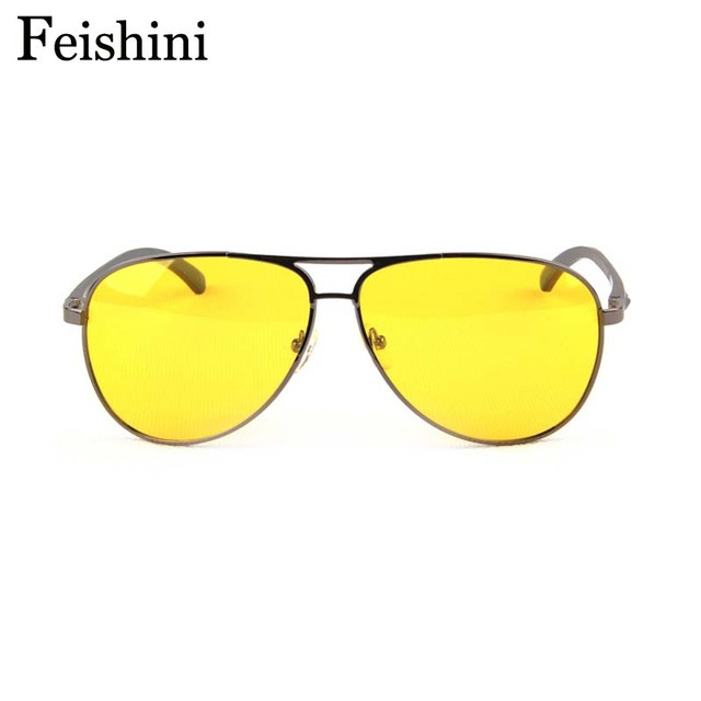 FEISHINI fishing Glasses Day & Night alloys TAC Pink HD See Car Yellow Lens Sunglasses Men Polarized Night Vision