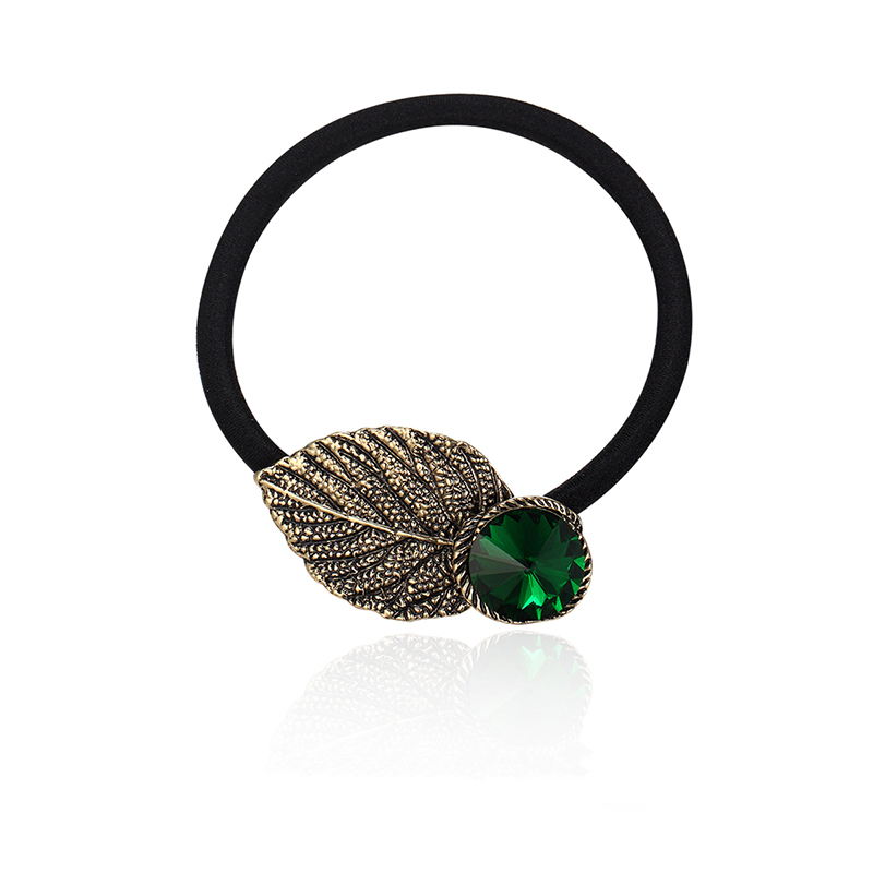 Detail Feedback Questions about CHIMERA Metal Leaf Hair Rope Vintage  Ponytail Holder Green Rhinestone Hair Band Elastic Ties for Women and Girls  Thick Hair ... 72583afac5e1