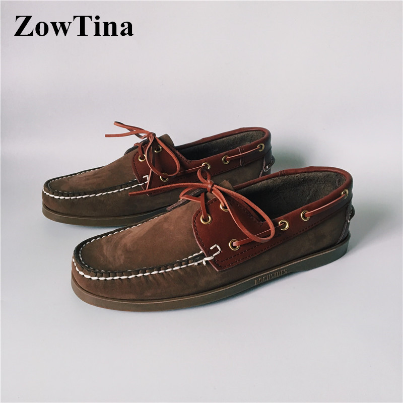 real photoes casual driving shoes top leather boat