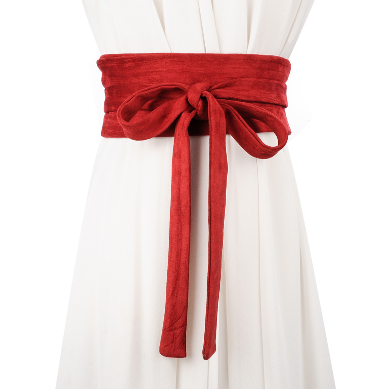 2017 new fashion wide   belt   high quality solid suede   belt   for women bowknot long wasitband female   belt   for dress