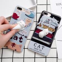 Супер стильная футболка с изображением персонажей видеоигр 3D Cat Куклы Мягкие ТПУ силиконовый чехол для телефона для iPhone 7 Plus ленивый Спящая кошка задняя крышка