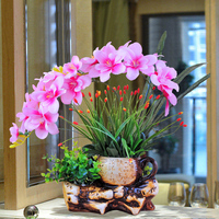 Phalaenopsis Artificial Flower Set Ceramic Flower Pot Living Room Interior Table Decoration Fake Flower Bud Flower Decoration