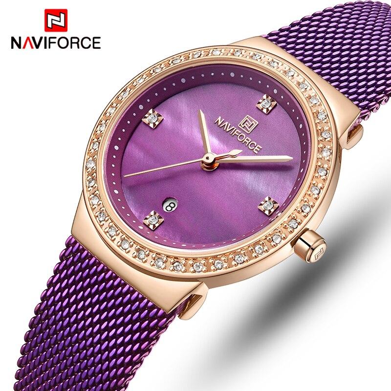 NAVIFORCE Women Watch Top Luxury Brand Fashion Dress Quartz Ladies Watches Stainless Steel Date Female Clock Relogio Feminino