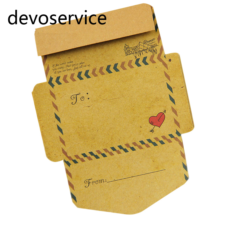 One Set Retro Vintage Kraft Paper Envelope Memo Pads Sticky Notes School Office Supplies Stationery Kids Gifts Post It