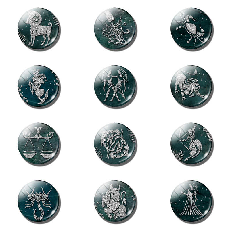 Silver 12 Constellation Dark Green Magnetic Refrigerator Stickers Glass Dome Cabochon 30 MM Fridge Magnet Lovely Home Decoration