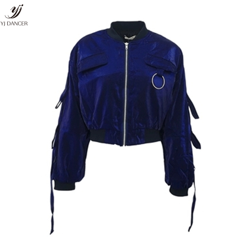 Printemps Blue Broderie Personnalité H0336 Mode Veste De Automne Manteau Vêtements Courte Femme Qualité Lâche Nouvelle 2018 Lanterne Haute La Manches Hvpw5qg