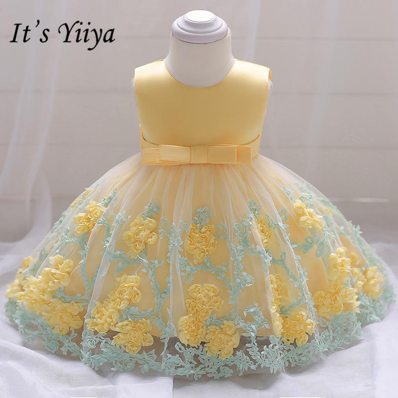 It's yiiya Fashion Colored Embroidery   Flower     Girls     Dresses   Sweet O-neck Tank Little   Girl   Ball Gown MA071