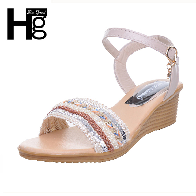 0a5873eae HEE GRAND Cute Women s Sandals Open Toe Concise Design Summer Style Student  Wedge Sandals for Woman