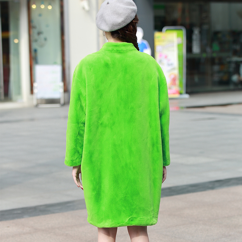 Plus Manteau 7xl gray La Femmes Zipper Faux Nerazzurri Vison Lâche 6xl Veste Taille De black Blue Manches 2018 Bat Fausse green Noir Green Flash Hiver grass Ourwear Élégant Fourrure Udzwx0qz