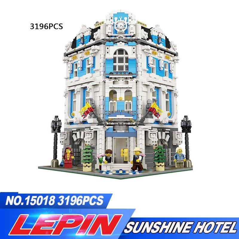 DHL Lepin 3196 pcs 15018 GPM Créateur Ville Série L'hôtel Sunshine Blocs De Construction Briques Jouets Éducatifs pour enfants