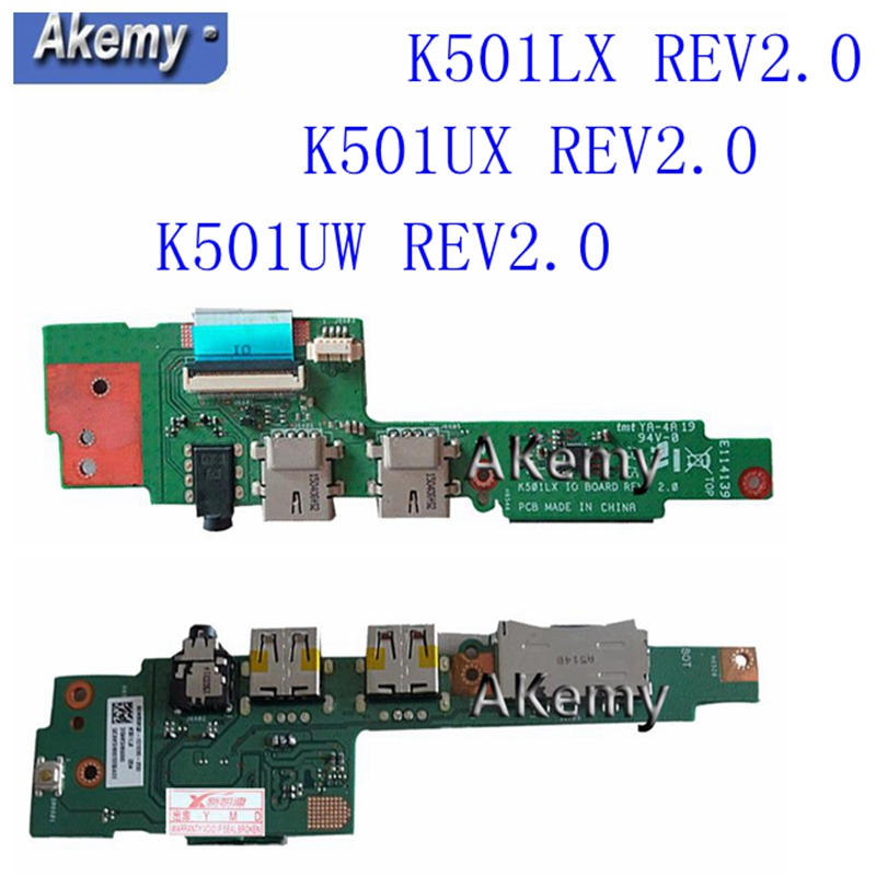 <font><b>K501UX</b></font> K501LX K501UW USB IO Board For <font><b>ASUS</b></font> A501L K501 K501LX K501LB K501U A501U K51UXM cable Laptop Audio USB IO JACK Board image