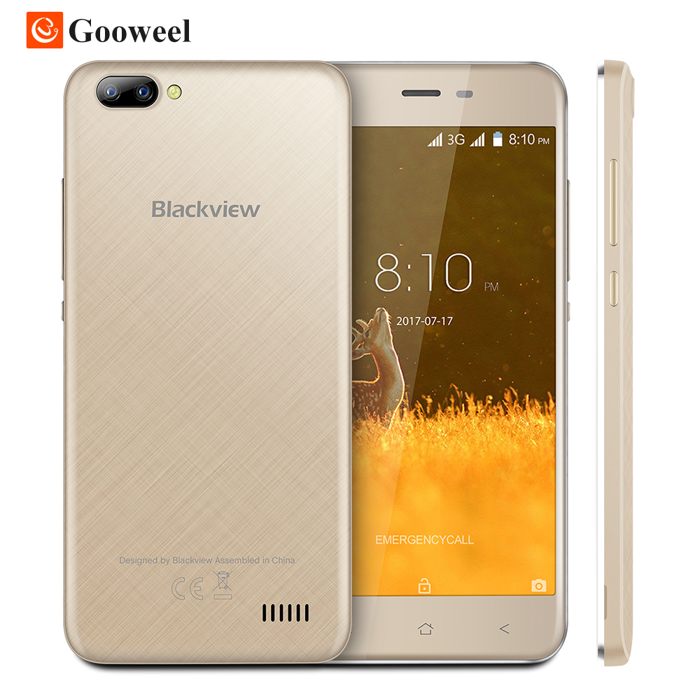 New Blackview A7 mobile phone 5.0 inch HD IPS MTK6580A quad core smartphone Dual Rear Camera GPS 1GB+8GB 3G unlocked Cell phone