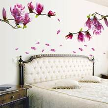 Creative PVC Wall Stickers Fresh Magnolia Decals for Living Room Bedroom TV Wallpaper Large Removable DIY Art Home Decoration(China)