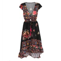 Women Vintage Romantic Dress Long Maxi Dress Print Chiffon V-Neck Boho Evening Party Beach Dress Vestido YM