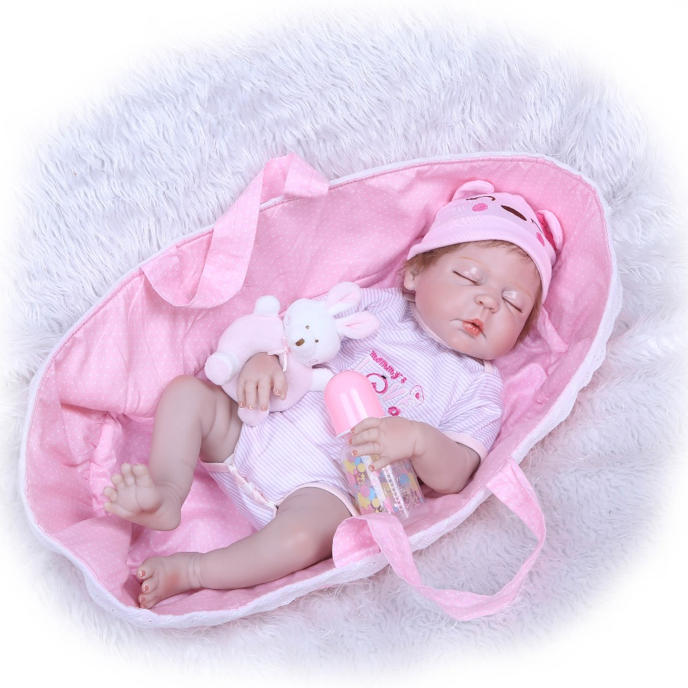 Newborn Bedtime Us 108 18 19 Off Npkcollection Reborn 22inch Silicone Newborn Dolls Soft Princess Bebe Reborn Girl Baby Eyes Closed Sleeping Bedtime Toy In Dolls