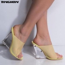 TINGHON Yellow Sandals Transparent Summer For Female Crystal 11.5cm Wedge High Heel Shoe Peep Toe Princess Clear