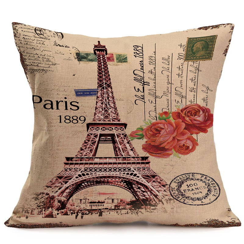 45x45cm Vintage Franch Paris Eiffel Tower Pillow Cover Cotton Linen Cushion Cover Retro Car Sofa Throw Pillowcase Home Decor