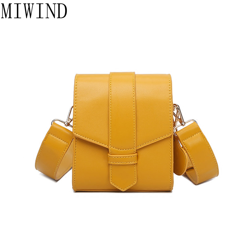 MIWIND 2017 Yellow Bag Women Messenger Bags Wide Strap Brand Designer Crossbody Small Flap Bag For ladies TXY995