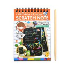 1pc Drawing Sketchbook Paper DIY Scratchbook Scratch Stickers Kids Toy Wooden Boy's Scraping Painting Learning Educational Toys(China)