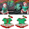 X'mas Green Bodysuit Jumpsuit Romper Red White Green Stripes Pettiskirt Baby Dress Headband NB-18M MAJS0067