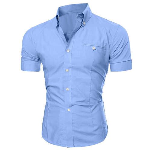 6367cd80238 Мужская рубашка деловая Роскошная рубашка с отворотом на пуговицах мужская  футболка с коротким рукавом Повседневная однотонная