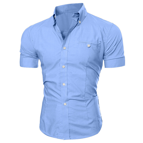 Men Shirt Bussiness Luxury Lapel Button Down Male Short Sleeve Top Blouse Casual Solid Hawaiian Shirt Hit Color Slim Fit Shirts ...