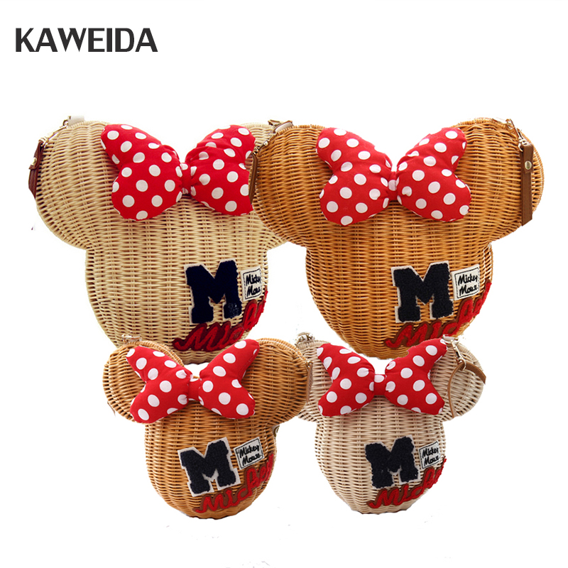 New Style Minnie Mouse Handmade Rattan Bag Cartoon Women's Purse Lovely Girl Straw Beach Shoulder Bag Vintage Casual Bucket ytaik new style straw bucket handmade rattan bag cartoon women purse lovely girl straw beach shoulder bag vintage casual wicker
