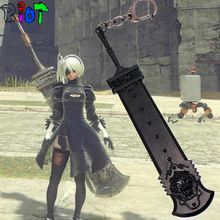15 CM NieR Automata Heroine 2B Weapon Model Keychain Alloy Key chains Game Accessories Keyring Charms Cosplay Jewelry For Fans
