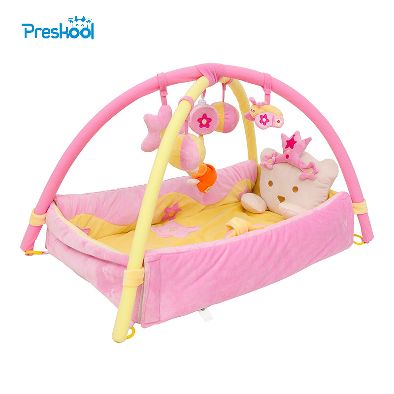 Big Princess ! 92cm*110cm ! Baby Toy Play Mat Twist and Fold Activity Gym Play Gym Playmats Colorful Gymini Playmat with 5 Toys baby toys