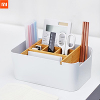 Xiaomi Mijia Big Size Bamboo Fibre Detachable Organiser Box Sub-grid Design Cosmetic Storage Box Portable Case Bag Simple style Video Games Bags