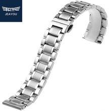 JEAYOU Для мужчин Нержавеющая сталь ремешок для наручных часов серебристый ремешок для часов браслет для часов из нержавеющей стали для автоматические механические мастер коллекция 19/20/21 мм