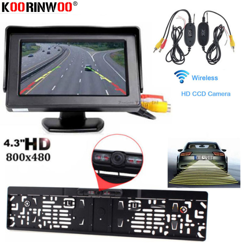 Koorinwoo Car Number License Plate Frame Camera Night Vision Reverse Backup Car Rear View Camera Auto Accessory With Monitor Kit