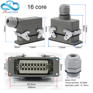Image 3 - Heavy duty connector rectangular hdc he 4/6/10/16/20/24/32/48 core industrial waterproof aviation plug 16A top and side