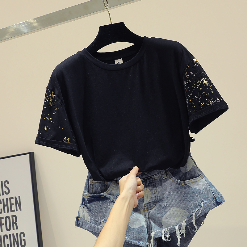 Women Tshirt Cotton Summer Casual Fashion Knitted New Style Short Sleeve Long Cloth Animal Loose O-neck