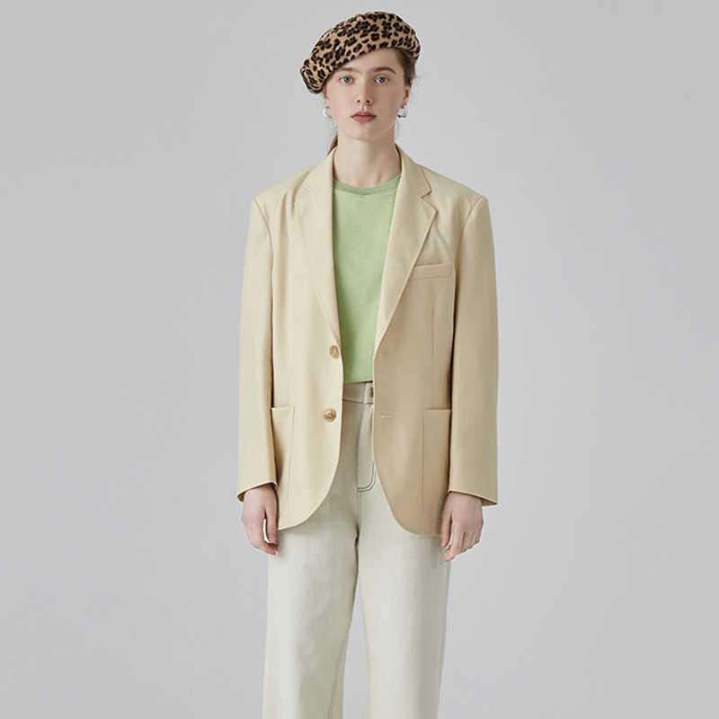 [EAM] 2019 новая весенне-осенняя желтая короткая однобортная Свободная куртка с отворотами и длинными рукавами Женское пальто модная куртка JQ638