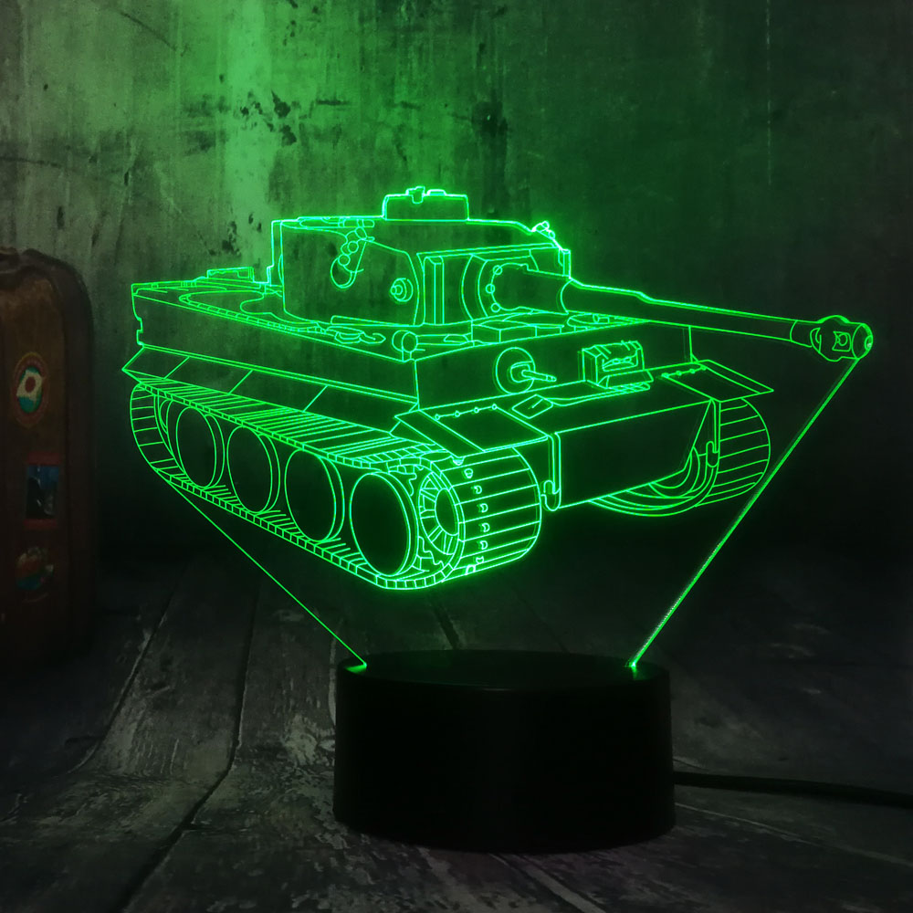 New Design Cool Machine Tank Novelty Table Lamp 3D LED Night Light 7 Color Change Livingroom Decor Lustre Kid Christmas Gift Toy