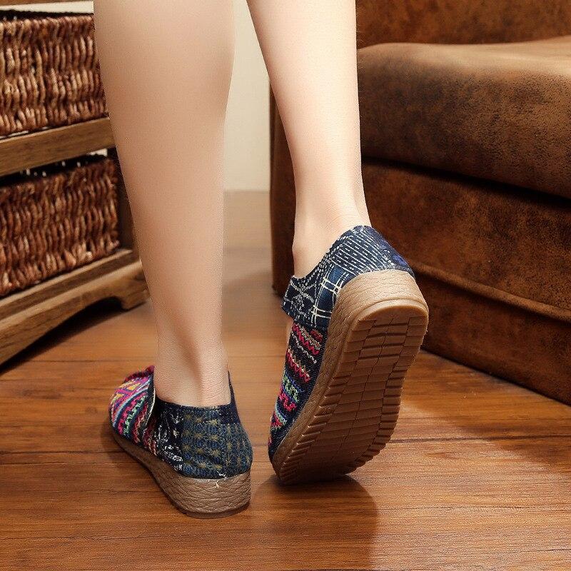 Chaussures Conception Ka Doux De Appartements Pour Femmes Dames Coudre Respirant La Chanvre Luxe rouge Weid À 2018 Bleu Décontracté Main n5rn8E