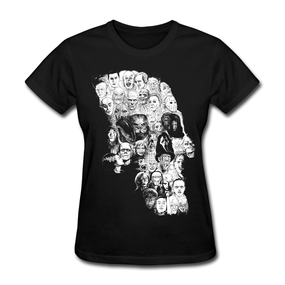 100 Cotton Women 39 S T Shirt Horror Skull Make Your Own