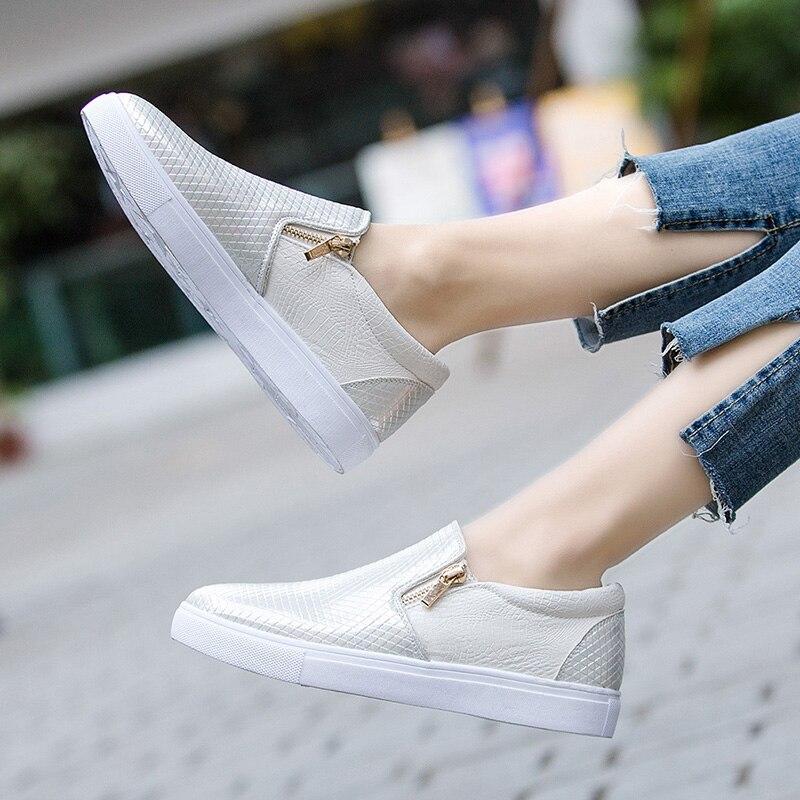 Chaussures Mode En Gris Côté Blanc Mocassins De Pour 2019 Cuir Ballet Slip Appartements blanc Printemps Femmes Sur Gris Zipper Tennis qCwBSv