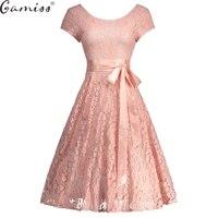 Gamiss Robe Femme Vintage Floral Lace Dress Women Elegant Long Sleeve 50s 60s Retro Style Rockabilly