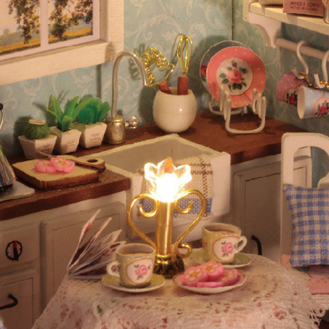 Toy Dollhouse Miniature Assemble Kit With LED Furnitures Handcraft  2