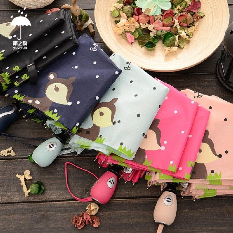 자동 우산 다섯 접는 크리 에이 티브 사슴 레이디 양산 컴팩트 미니 안티 UV 5 접는 태양 파라솔과 비가 우산